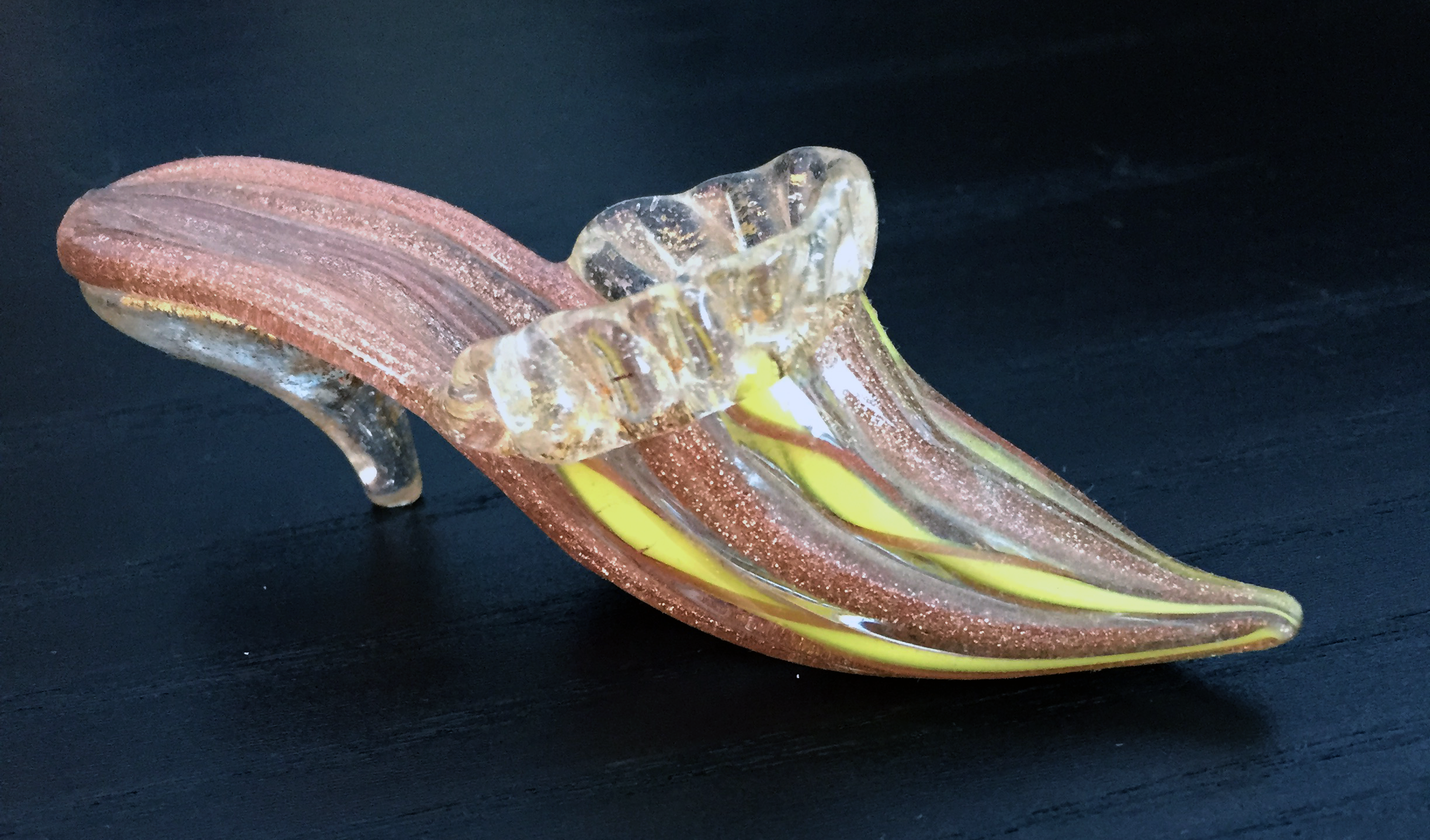 Venetian glass slipper from my miniature shoes collection.