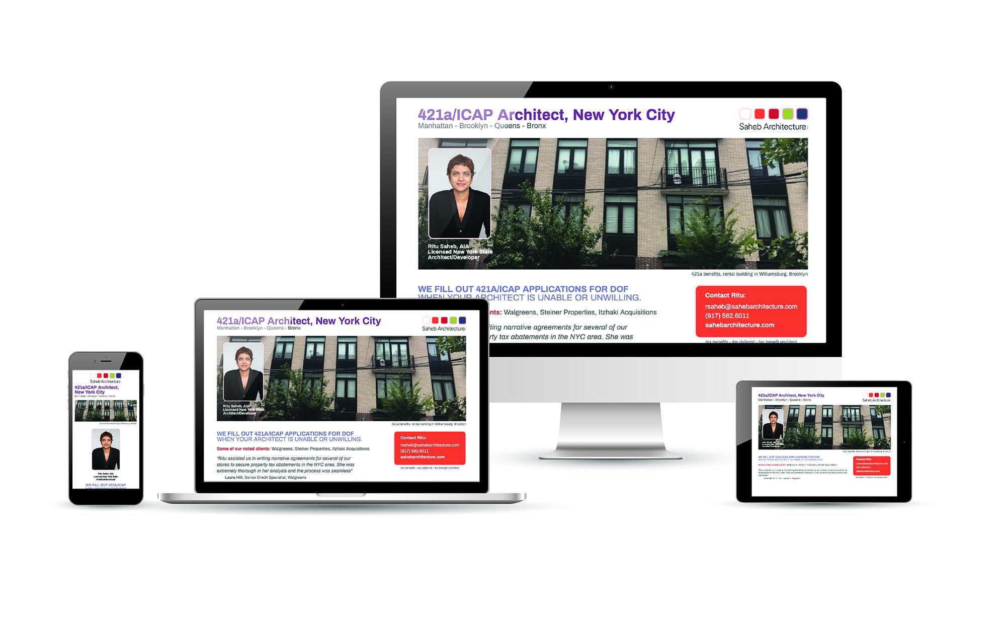 architect website, landing page design, new york city