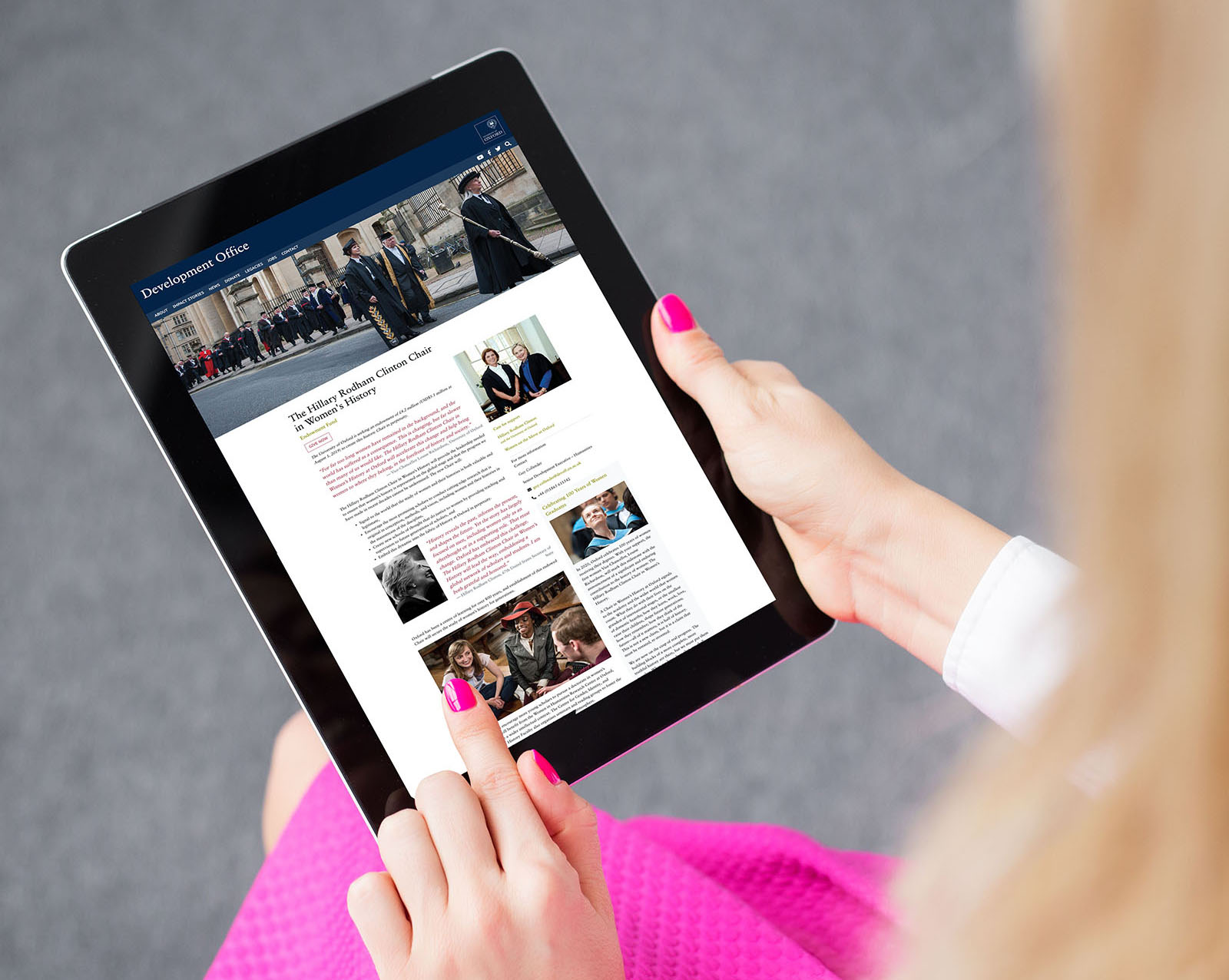 hillary clinton, university of oxford,higher education landing page design